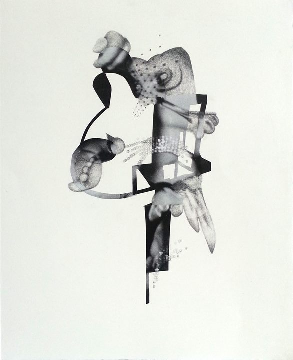 "Spy  Collage and graphite on paper 14"" x 11"""