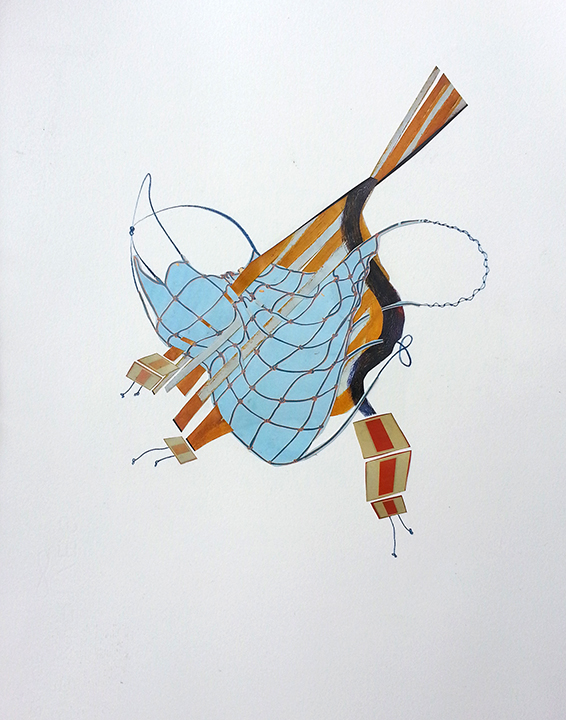 "Tying Up Loose Ends  Collage and colored pencil on Rives BFK paper 14"" x 11"""