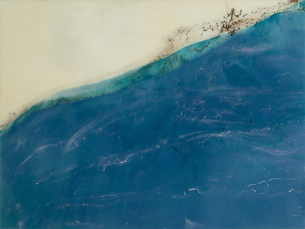 "Dreaming of Whitecaps  resin & acrylic on panel  48"" x 36"""