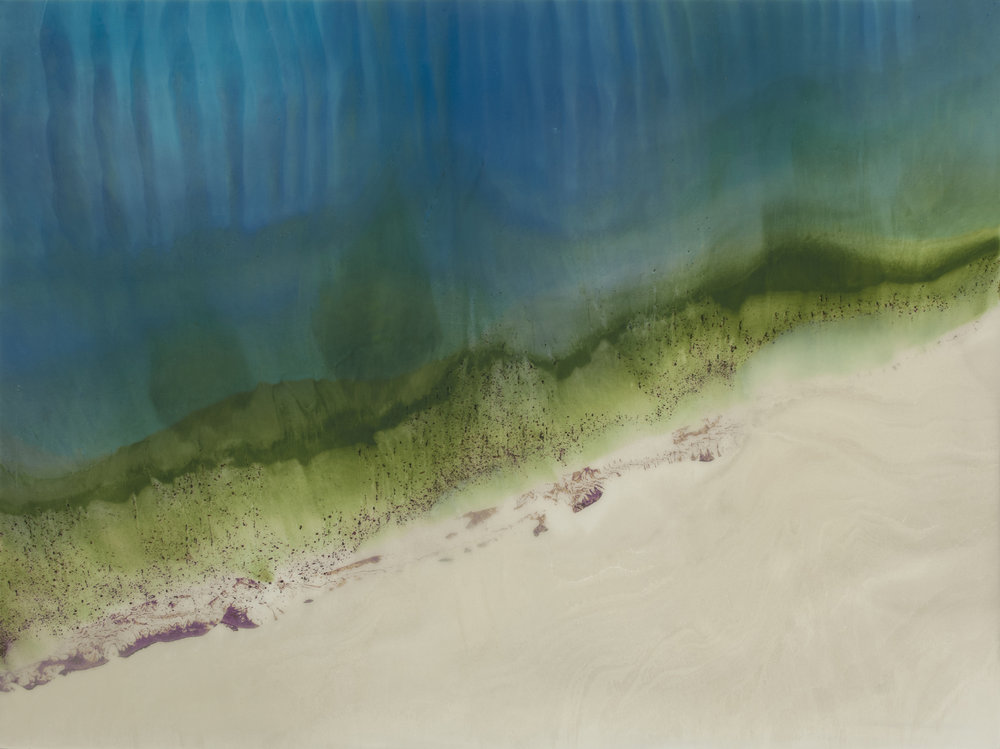 "Shoreline Ripples  resin & acrylic on panel  48"" x 36"""