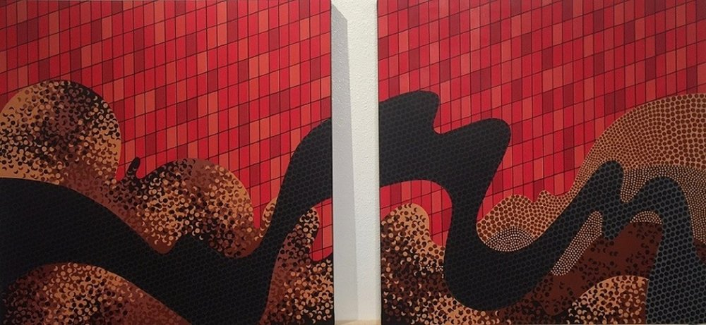 Shiny Side Up (diptych)  oil on canvas  48x102