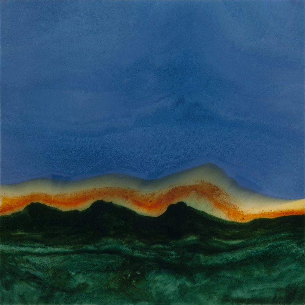 "Above A Rim of Dark Mountains  resin & acrylic on panel  36"" x 36"""
