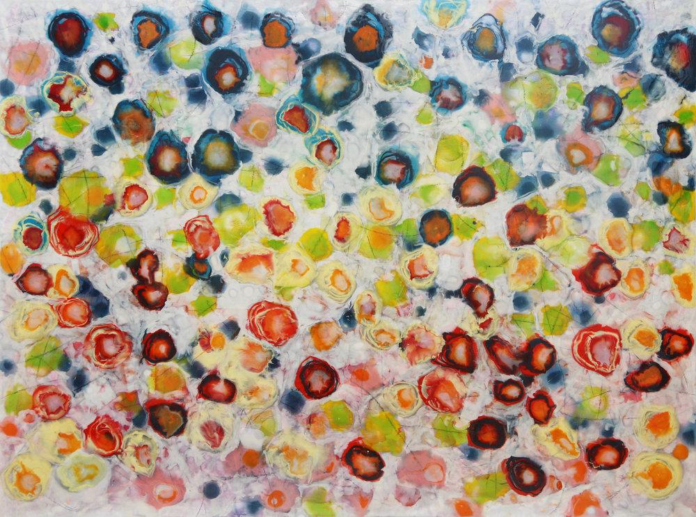 Farida Hughes  New Variations  oil, resin & mixed media on panel  30x40