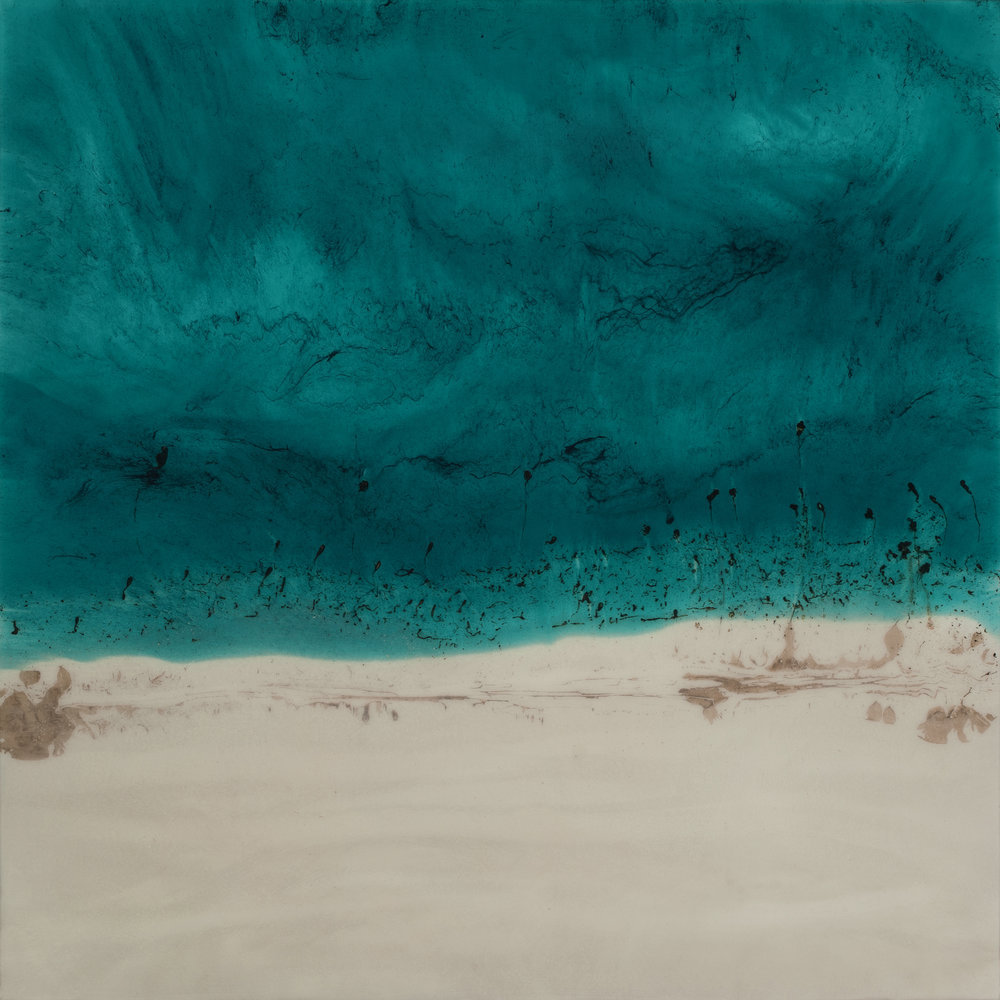 "Teal Beach  resin & acrylic on panel  36"" x 36"""