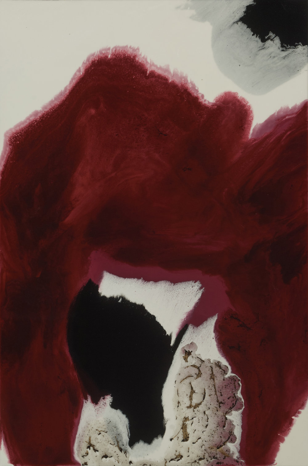 Patricia Finley  Crimson Kiss 1  acrylic and resin on panel  36x24