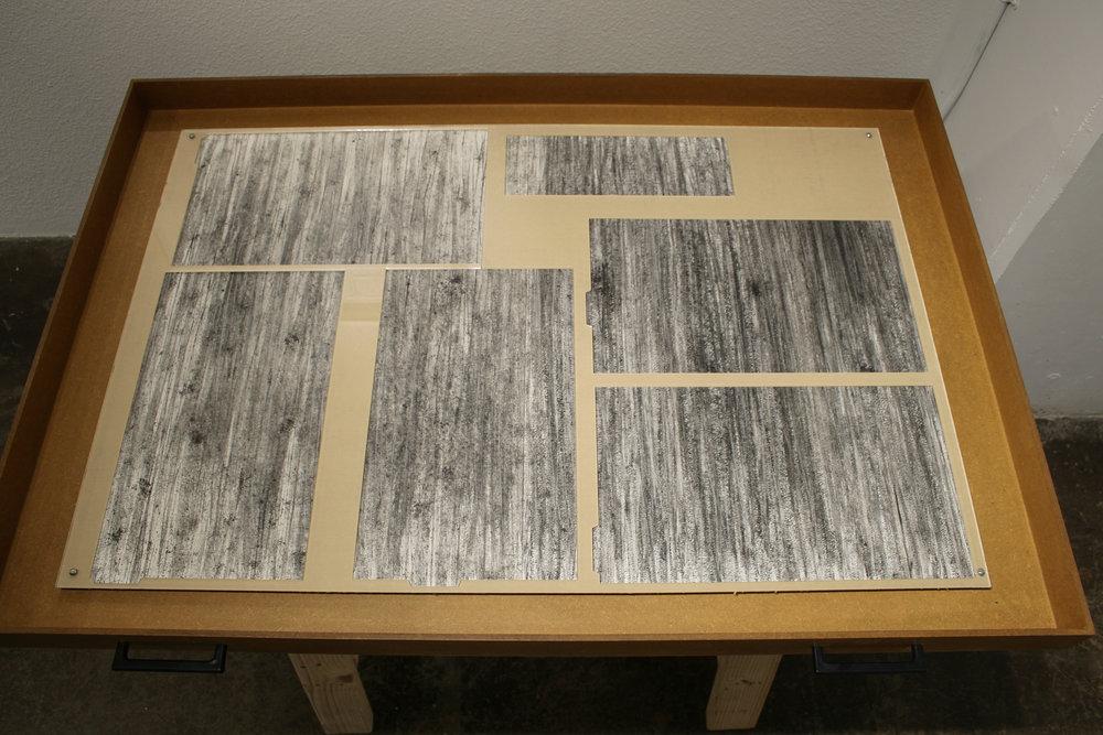 """Forming the Future  graphite, plexiglass & drywall  34"""" x 42"""" x 29"""""""