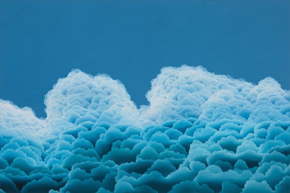 """Aqua Gloaming  oil on canvas  60"""" x 40"""""""