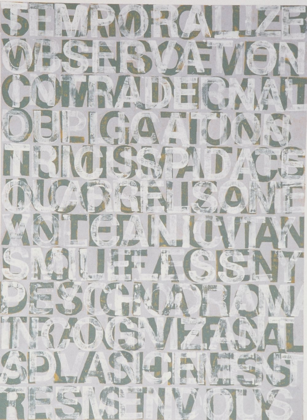 Roland Bernier  Temporalize  woodcut print on paper  50x39