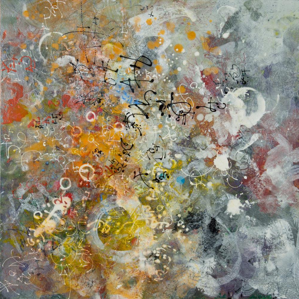 Deidre Adams  Cipher Winter  mixed media on panel  20x20