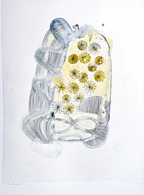 Mary Mackey  Around We Go  15x18  watercolor on mylar