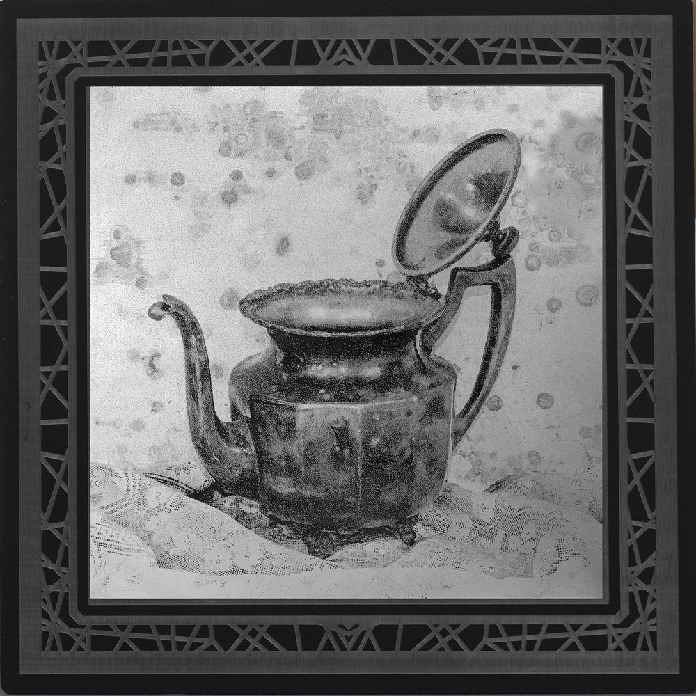 Silver Tea  8 x 8  caustigram mounted on laser engraved acrylic