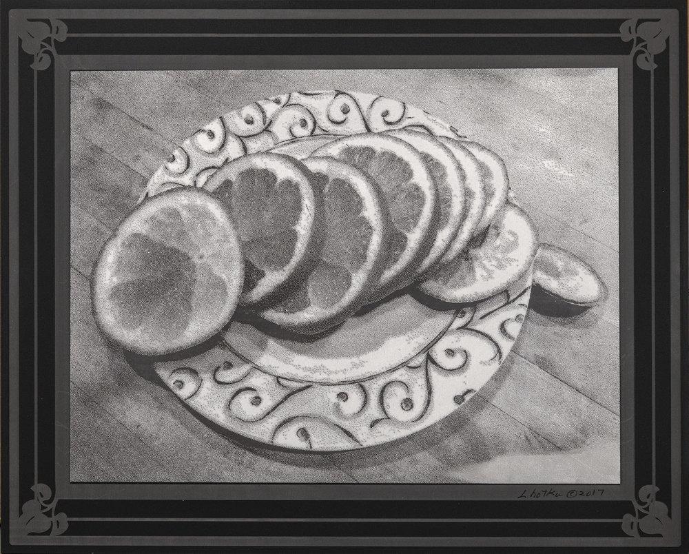 Sliced Lemon  8 x 10  caustigram mounted on laser engraved acrylic