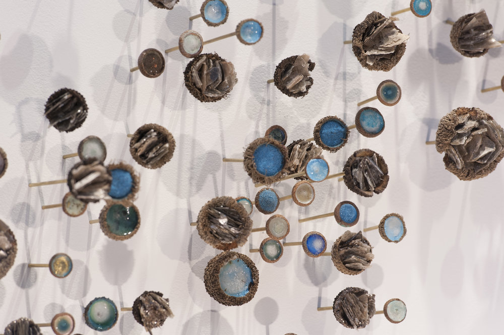 Julie Maren  Botanica  acrylic, acorns, galss & brass  variable installation sizes