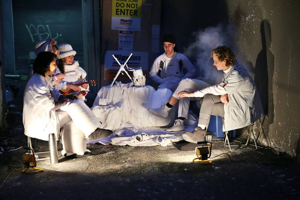 Soda Mountain Epic, pt. III, 2015  Camping chairs, pillows, polystyrene, smoke machine, flood lamps,bedding, ceramics, areoguard  Delegated performance by Alana Wesley, Luke O'Donnell, Szymon Dorabialski, Julien Bowman, Frankie Chow, Clare Powell  Footage: Daniel Sommer