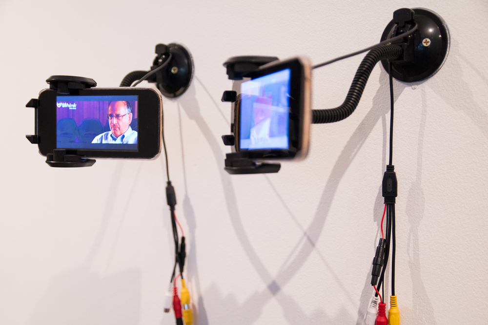 Dylan Batty  Samsung Galaxy S5 (iPhone Movies), 2016  LCD screens, MDF, cardboard, heat shrink plastic, Samsung Galaxy S5 phone cover, found video  Curated by Hana Hoogedeure  Photo: Isabel Rouch