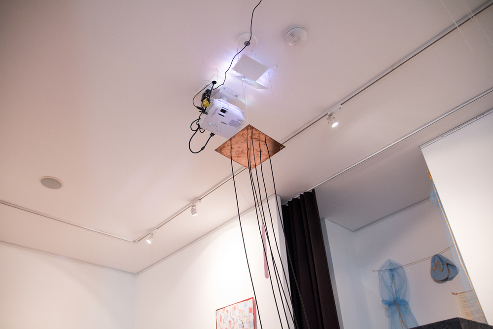 Julian Talarico  Studies For An Altar of The Everyday (Transduction System I), 2016  Concrete, candles, fibre optics, copper sheet, fabric, polyester film, mirror, motion sensing input device and software, digital video, projector  Curated by Hana Hoogedeure  Photo: Isabel Rouch