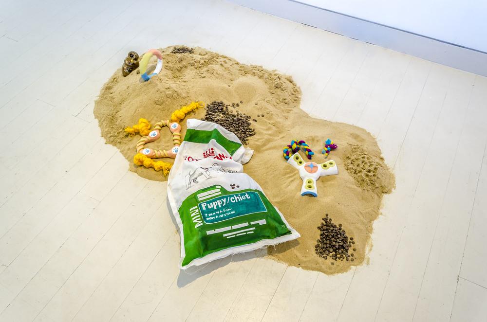 Dog Days, 2015  Sand, earthenware, underglaze,acrylic, marker, cotton, wool, play dough  Photo: Peter Webb