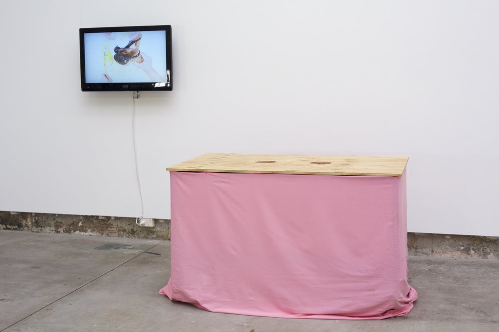On the Other Hand, 2017  Collaborative performance with Luke O'Donnell (with the help of Liam Crowley and Kai Wasikowski)  HD Video (13 min), Table, Plywood, cotton, nail polish, bread, balogney, tomato sauce  Photo: Ian Hobbs