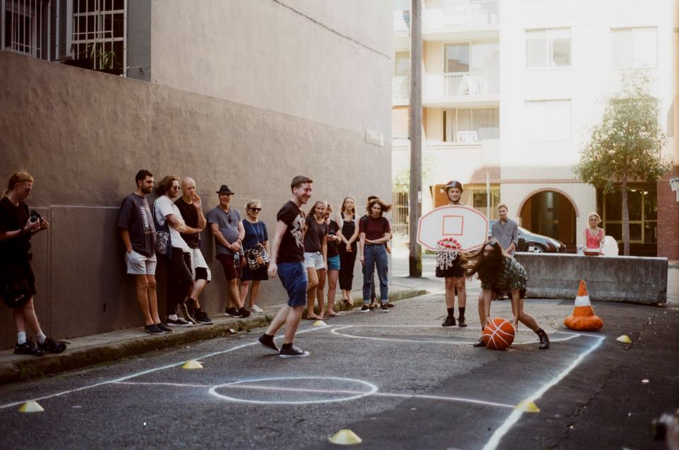 Alley Jam, 2017  Collaborative performance with Luke O'Donnell, Julien Bowman, Allison Chiew, Celeste Stein, Georgia Goldsworth, Emerald Dunfrost and audience.  Photo: Valentina Penkova      Desire Lines 3.0 (Ultimo Edition)
