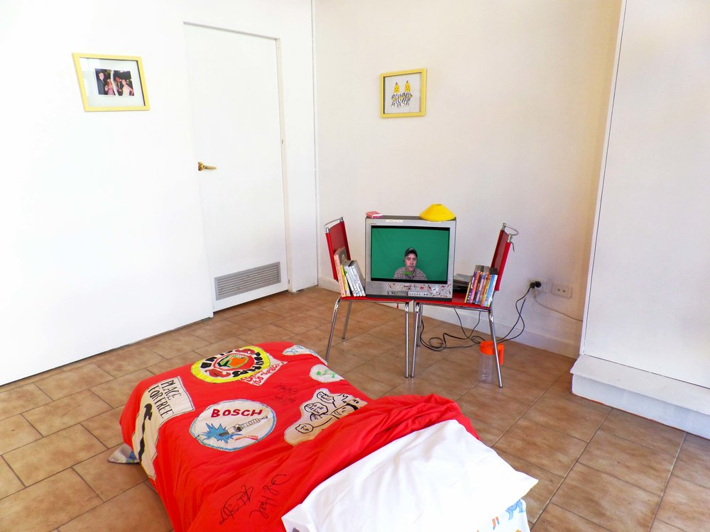 The Parent Trap (installation view)    Mirror, Mirror, 2017 (right screen)  B1, B2, 2015 - 2017 (centre)  Best Banana For Life, 2017 (far right wall)  The Parent Trap, 1990 – 2017 (far left wall)