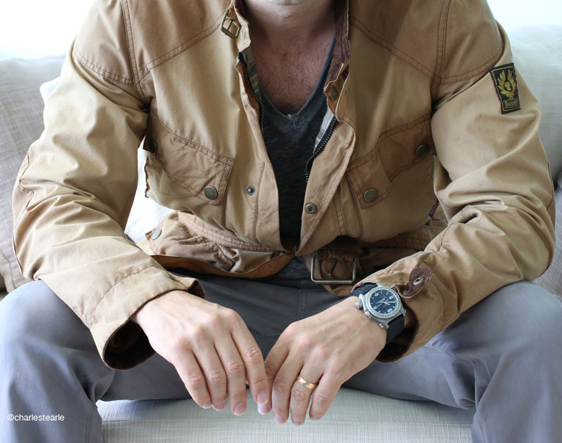 A new take on a classic, the heavily pre-washed colour, giving an almost two-tone effect, was an exclusive for US retailer J.Crew; worn here with a titanium Breitling Emergency wristwatch, John Varvatos t-shirt and AG jeans.