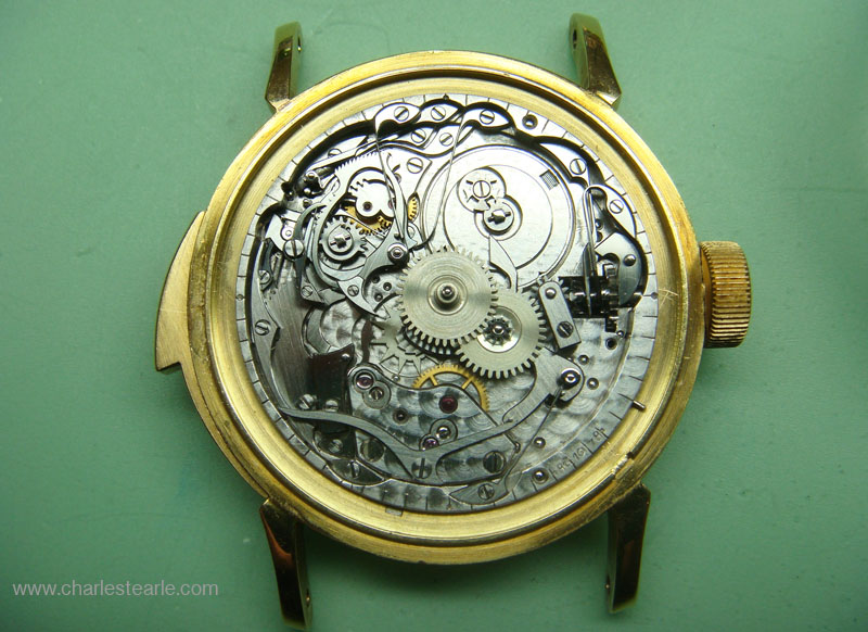 Under-dial view showing the repeating mechanism, it is rare for a PP movement to also be numbered under the dial.