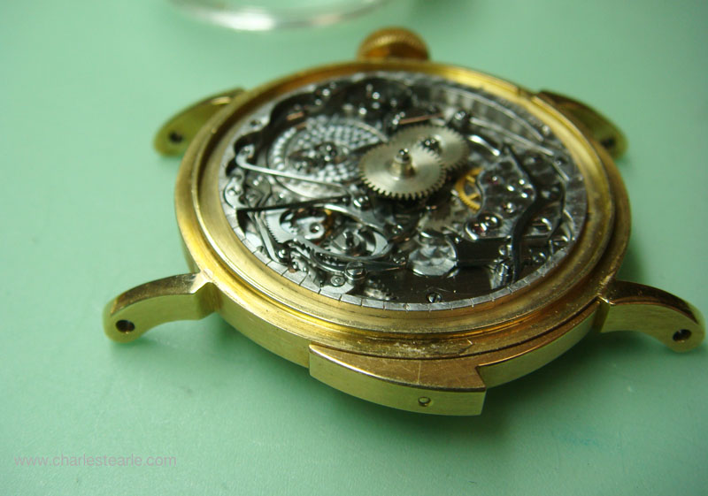 The repeat slide was so large it was made of two pieces of gold screwed together, note the minute markers on the movement