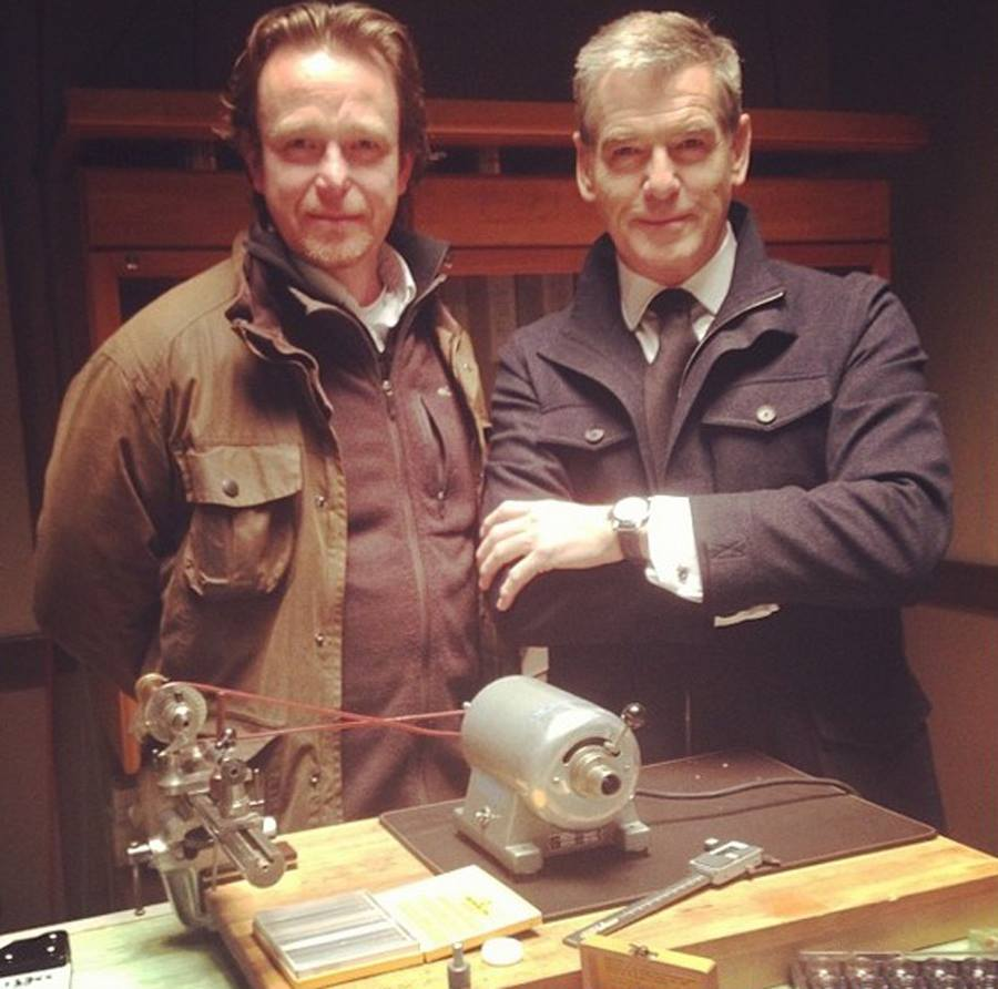 Picture posted on Pierce Brosnan's Instagram account with real-life watchmaker Peter Speake-Marin.