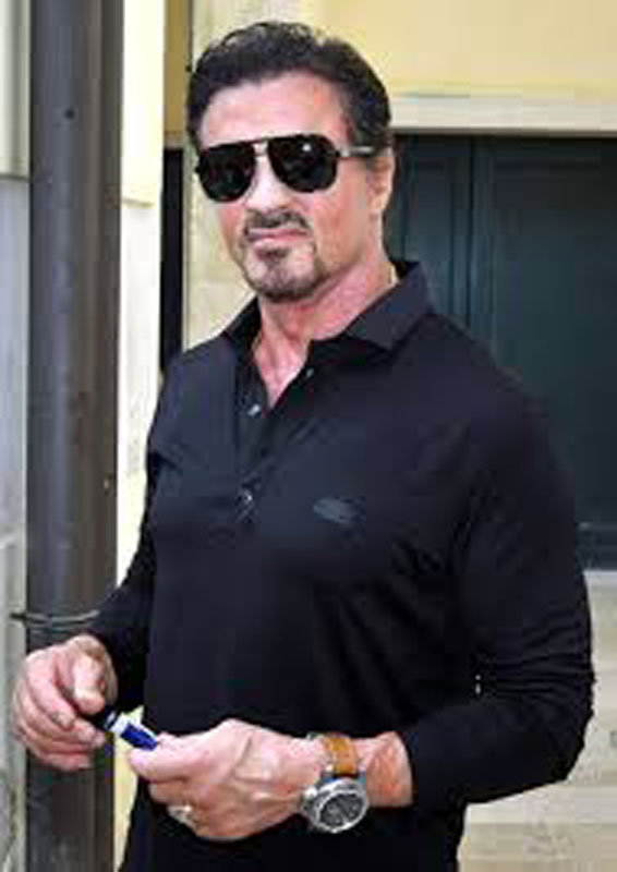 5. Sylvester Stallone. Sly has been a real advocate of large-diameter luxury sports watches, shown here wearing the Panerai PAM00341 'Egyptian Military 8 day' with a 60mm diameter case, made in limited edition of 500.
