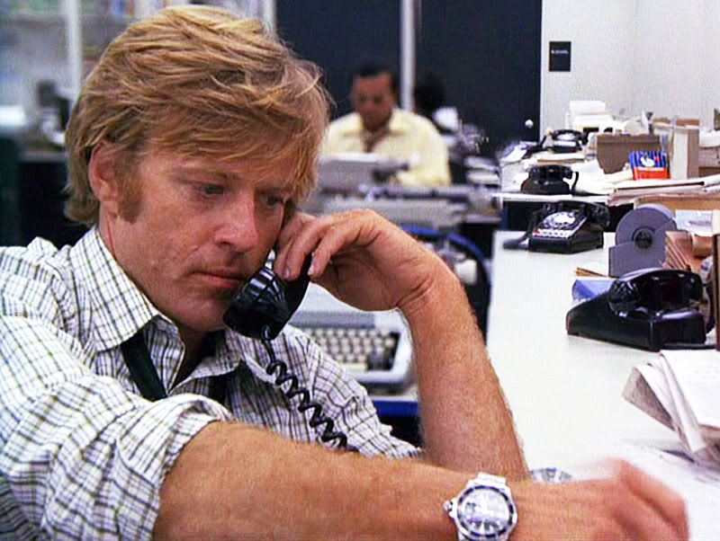10. Robert Redford. Ok, so he isn't a watch collector, nor does he really promote the industry, but he has worn a Rolex Red-Submariner Ref. 1680, as seen above on his wrist in the 1976 movie 'All The President's Men' for at least 38 years.