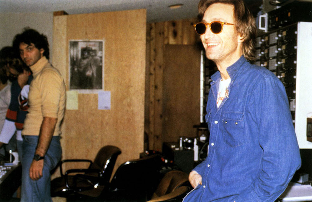 John Lennon on his 40th birthday inside the recording studio