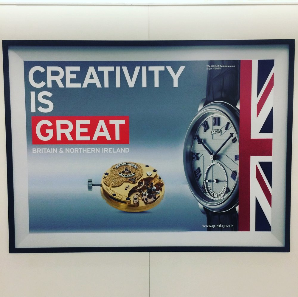 Advertisement for Great Britain featuring a Roger Smith watch at Heathrow Airport