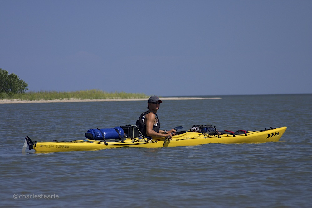 'Yellow Submarine' on Lake Winnipeg. My kayak was named such as when we started I had far more gear and thus it sat very low in the water. Jon's kayak was named 'Jenny' from the movie Forrest Gump, unless speaking to his girlfriend Jenifer, in which case he says it was named after her.