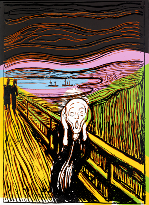 Andy Warhol  The Scream (After Munch), 1984  Silkscreen ink and synthetic polymer paint on canvas, 132 x 96.5 cm  Haugar Art Museum/Sparebankstiftelsen DNB  © 2013 The Andy Warhol Foundation for the Visual Arts, Inc./Artists Rights Society (ARS), NY