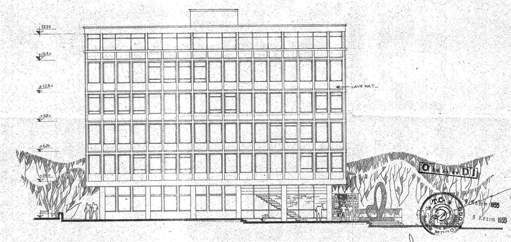 Şekil 4: EİE Fevzi Çakmak Caddesi Cephesi- Kat yüksekliğindeki değişik [Kaynak: Büyükşehir Belediyesi İmar Daire Başkanlığı, 2008]