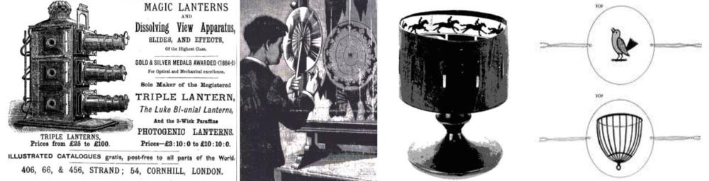 Şekil 1:Lanterna Magica (Büyülü Fener), Phenakistoscope,Zootrope (Yaşam Tekerleği) Thaumatrope (Mucize çevirici) gibi sinemayı önceleyen görme ve görüntüleme aygıtları.