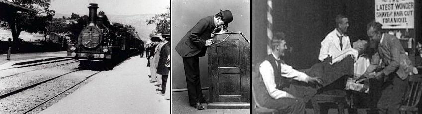 Resim 2:Sırayla Lumiere kardeşlerin Bir Trenin GaraGirişi filmi, Edison'un tek kişilik sinema izleme dolabı, Edison'unBerber Dükkanı isimli kısa filmi.