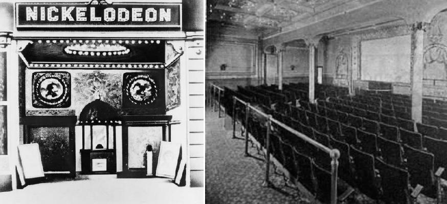 Resim 4:Dünyanın ilk sinema salonu olarak kabul edilen Nickelodeon'un cephesi ve iç mekanı