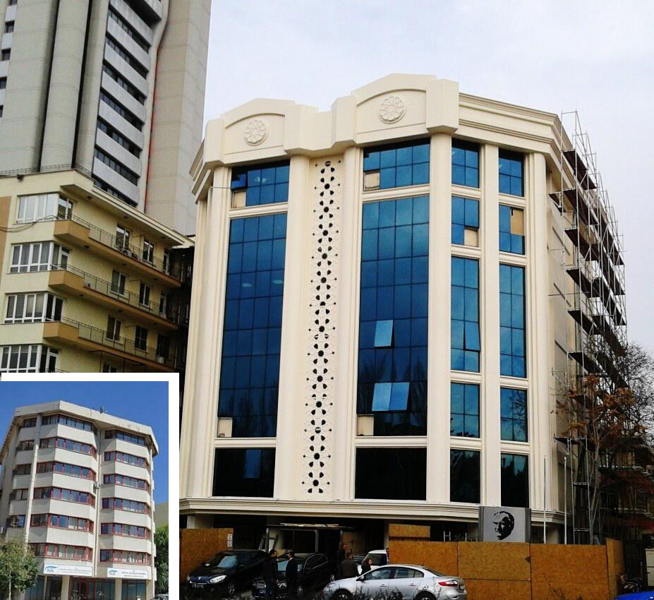 Ankara Büyükşehir Belediyesi'nin Atatürk Bulvarı cephe giydirmeleri: SGK Ankara İl Müdürlüğü binası, eski ve yeni halleri