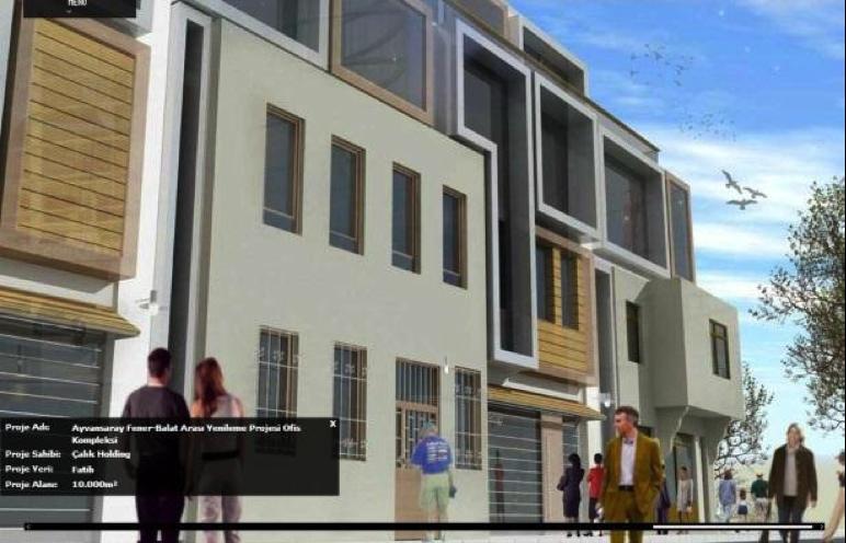 Resim 1: 11 tescilli parseli olan 2821 no'lu adada tasarlanan ofis kompleksi (www.hfmimarlık.com). Bu tescilli evlerin sadece dış çeperleri bir tutulup gerisinin komple yıkılması düşünülmüş; 'facadism' nedir diye soranlar için: Budur!