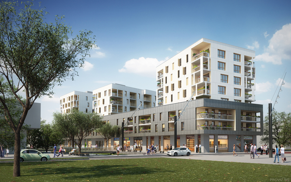 French Residential Complex Day Render