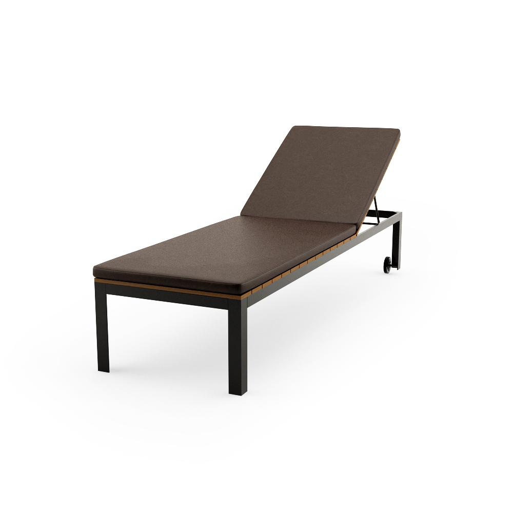 IKEA FALSTER CHAISE, BLACK, BROWN WITH CUSHIONS POSE 1
