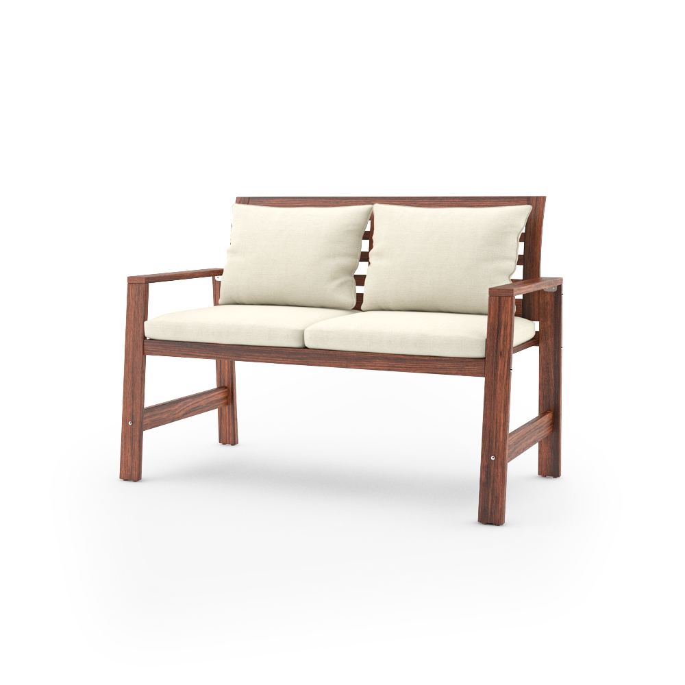 ikea applaro bench with backrest and cushions - Garden Furniture 3d Model