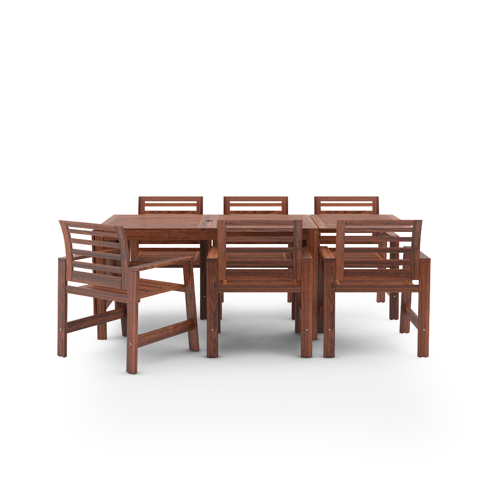 IKEA APPLARO SET TABLE AND 6 ARMCHAIR