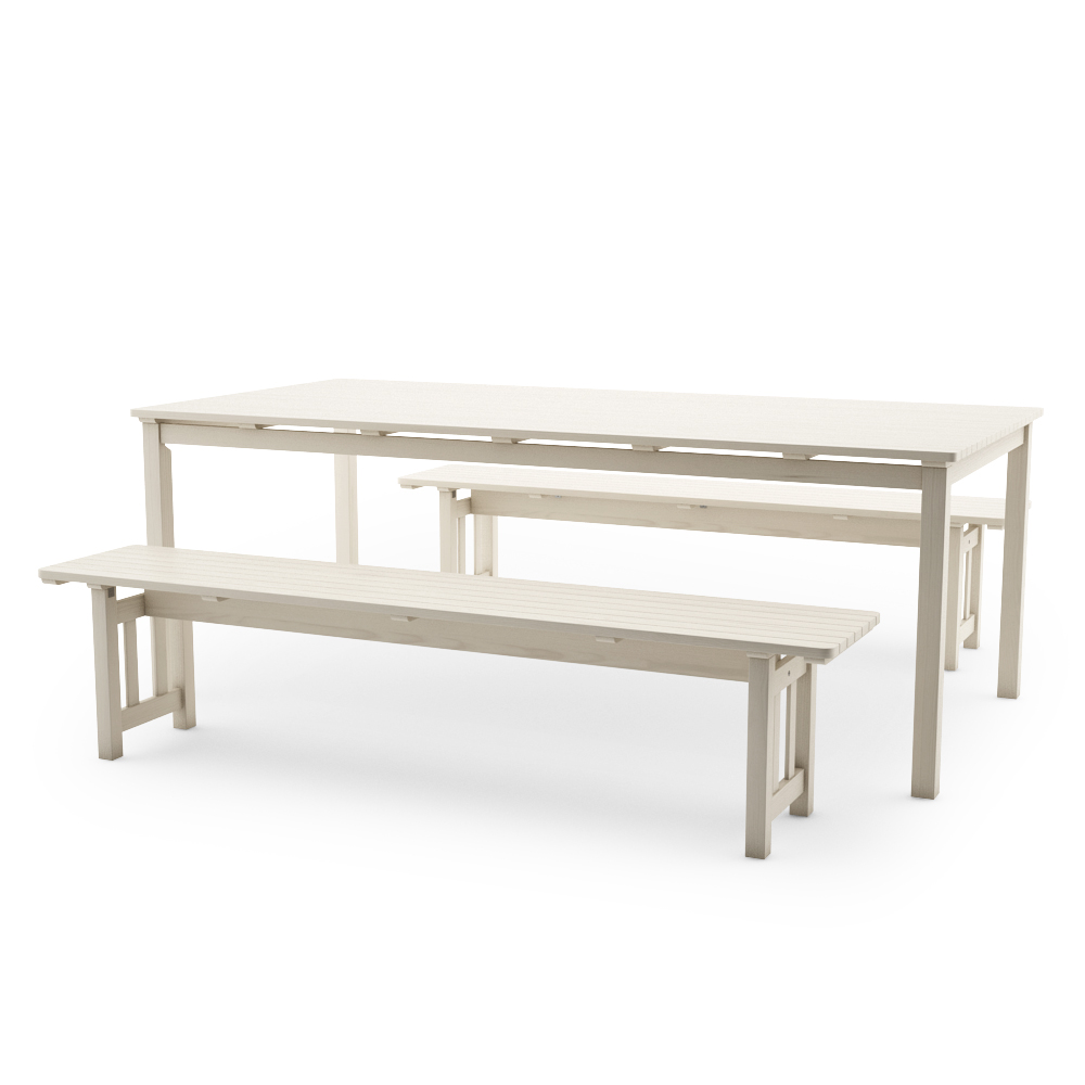 IKEA ANGSO SET OF TWO BENCHES AND TABLE, WHITE