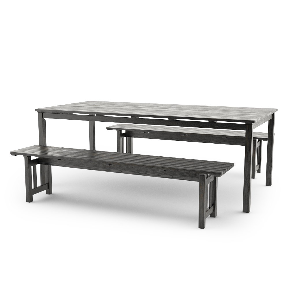 IKEA ANGSO SET OF TWO BENCHES AND TABLE, BLACK-BROWN