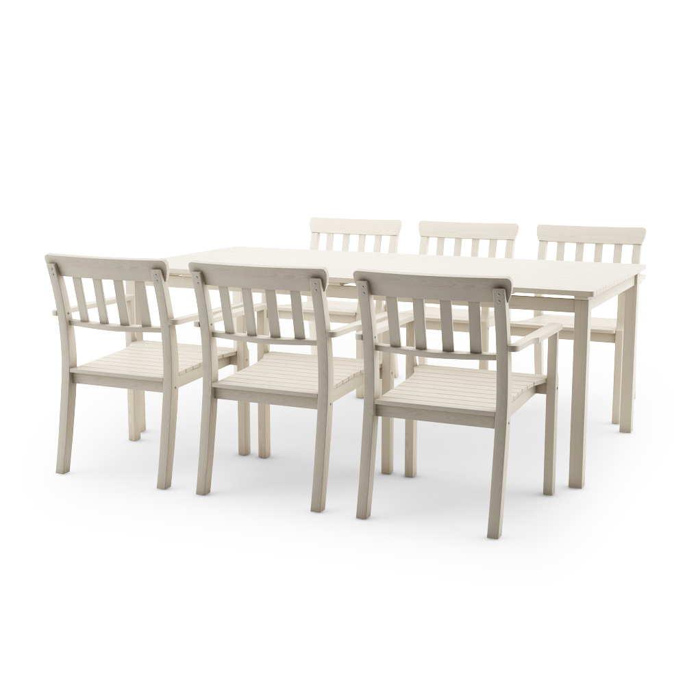 IKEA ANGSO SET OF SIX ARMCHAIRS AND TABLE, WHITE