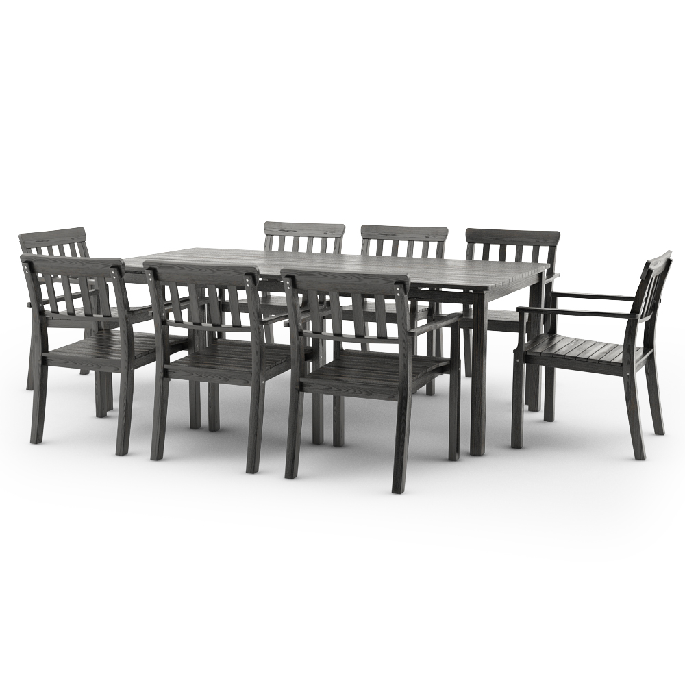 IKEA ANGSO SET OF EIGHT ARMCHAIRS AND TABLE, BLACK-BROWN