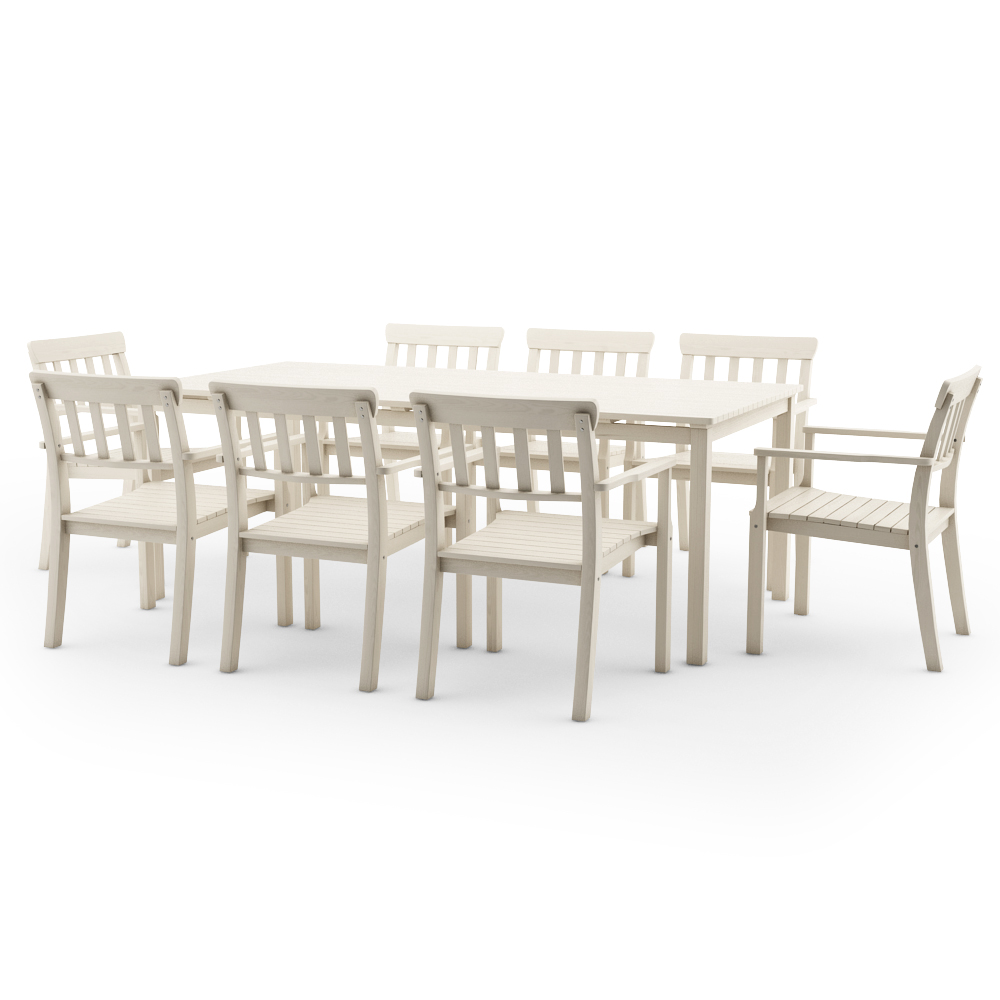 IKEA ANGSO SET OF EIGHT ARMCHAIRS AND TABLE, WHITE