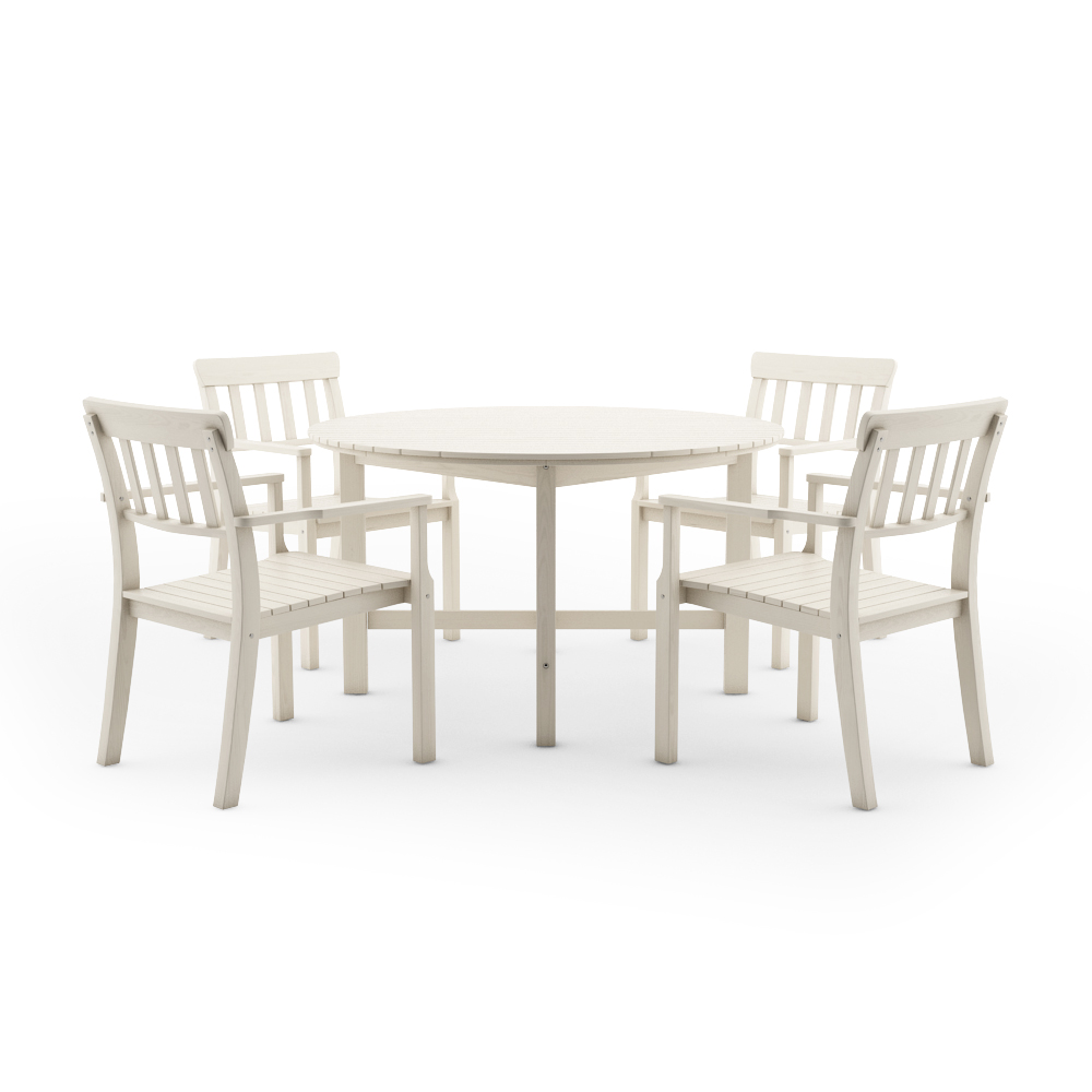 IKEA ANGSO SET OF FOUR ARMCHAIRS AND ROUND TABLE, WHITE